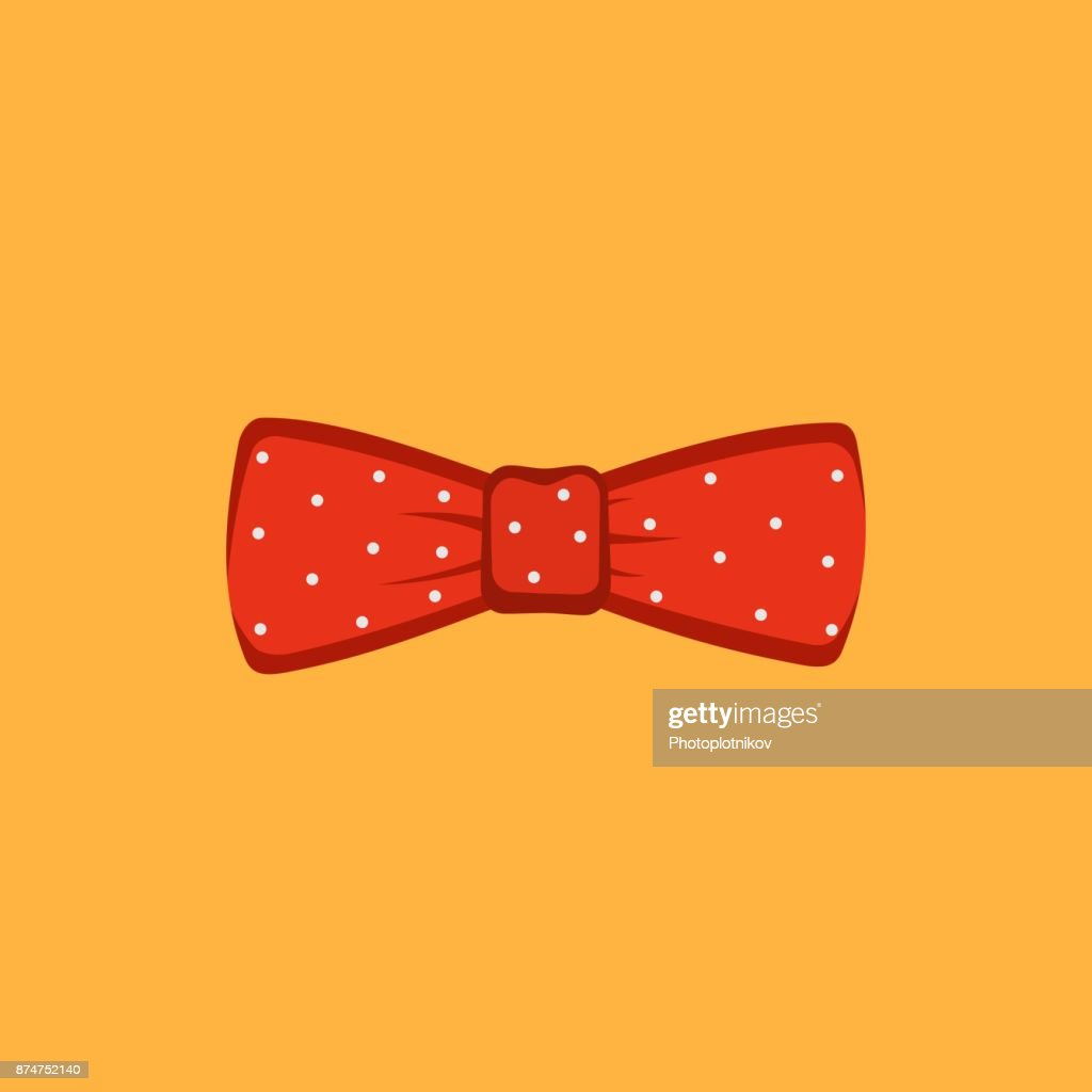 Red polka dot bow tie on a orange background