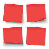 Red post vector sticky note set.