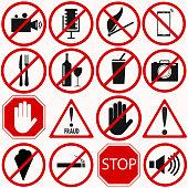 Red prohibition vector symbols set