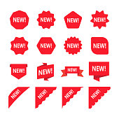 Red promotion labels with word new. Set of new sticker.