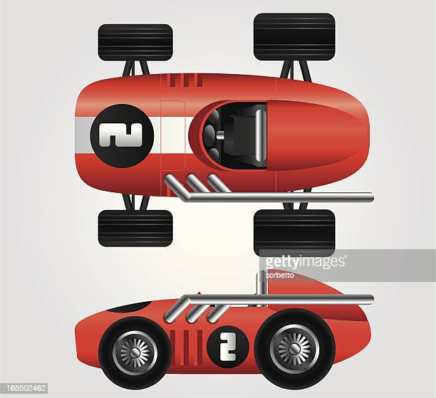Red race car viewed from the side and top