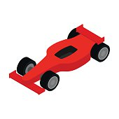 Red racing car isometric 3d icon