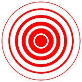 Red radiation concentric cirles on white background