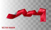 Red realistic silk vector ribbon