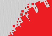 Red rectangle vector geometric abstract background with gray lines
