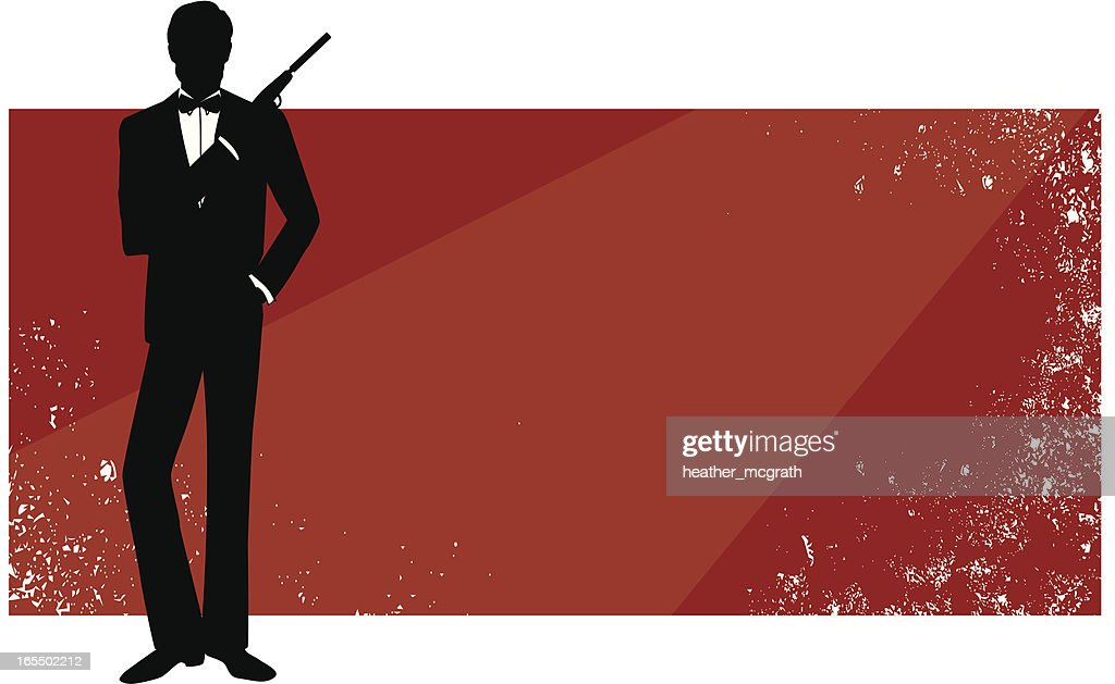 Red rectangular banner with James Bond in silhouette : stock illustration