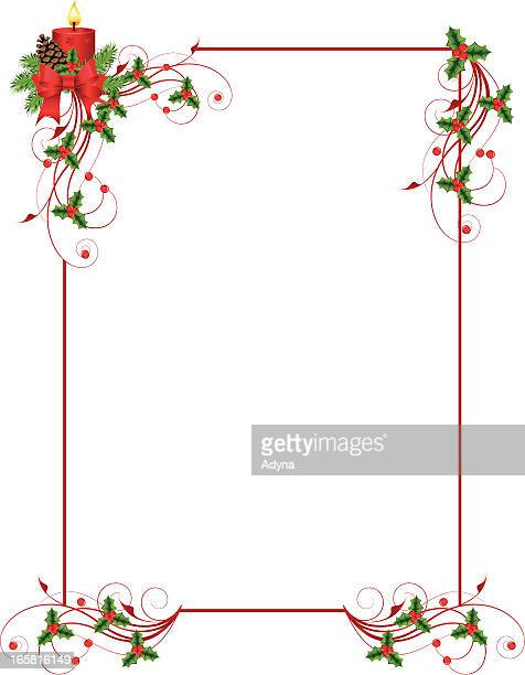 red rectangular frame with christmas decorations - christmas decore candle stock illustrations