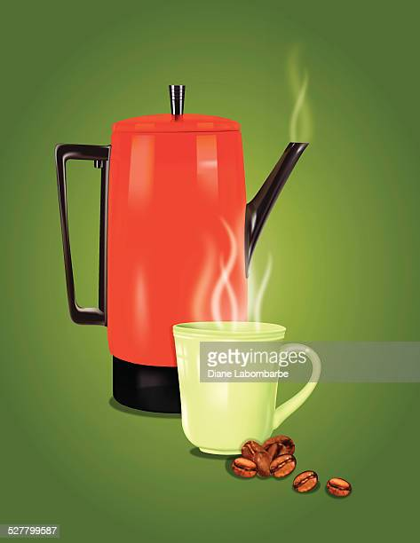 red retro coffee pot and cup on green - steeping stock illustrations, clip art, cartoons, & icons