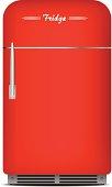 Red retro fridge