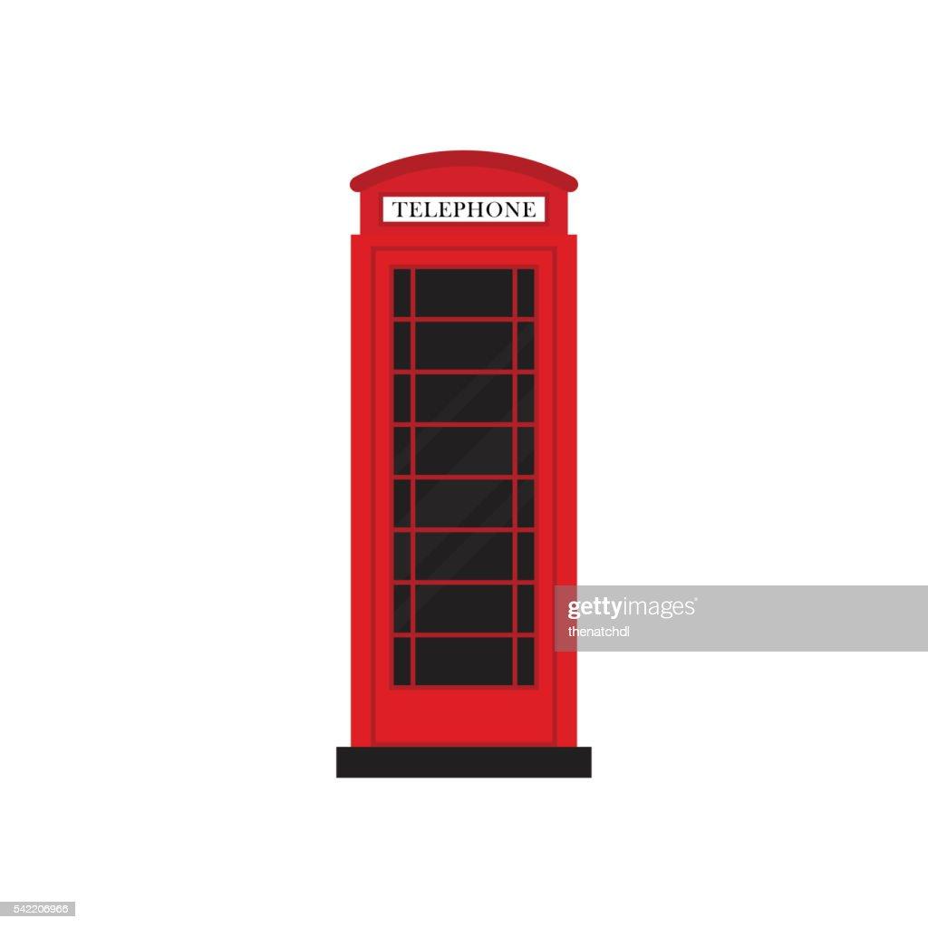Red retro phone booth flat design vector illustration