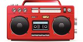Red retro stereo cassette player illustration