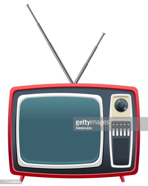 bildbanksillustrationer, clip art samt tecknat material och ikoner med röd retro tv - film and television screening