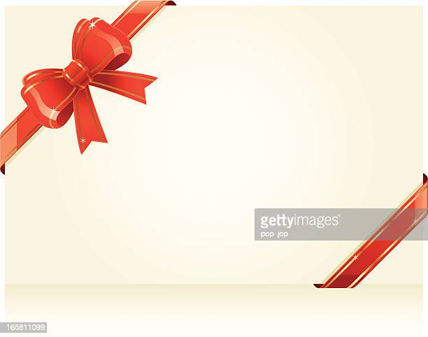red ribbon and bow around blank paper - gift tag note stock illustrations, clip art, cartoons, & icons