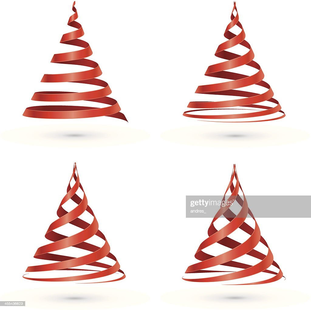 Red Ribbon Christmas Tree Vector Art