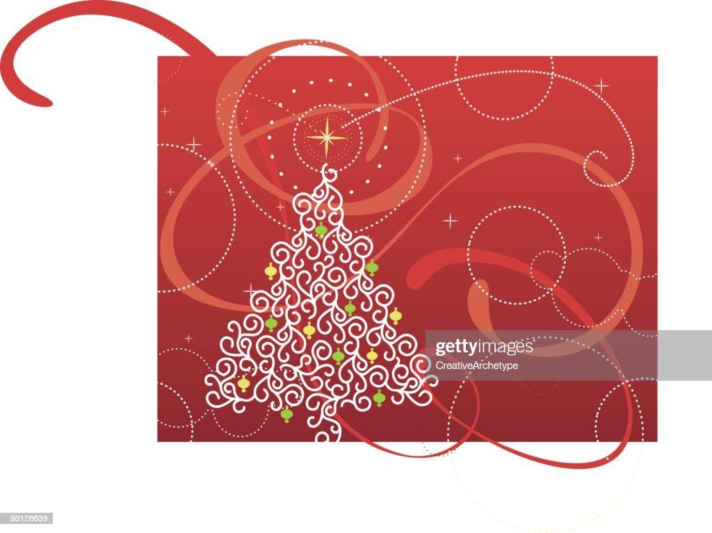 Red Ribbon Christmas Tree Vector Art