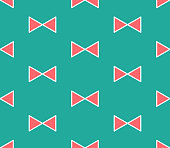 Red Ribbon on Green Mint Background