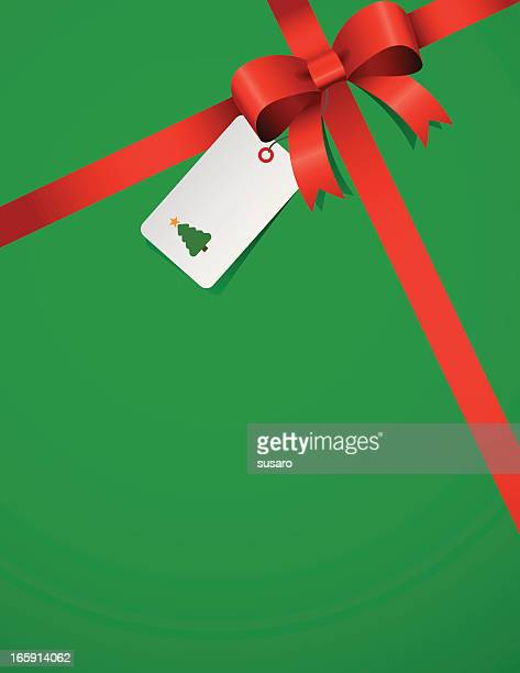 red ribbon on green - gift tag note stock illustrations, clip art, cartoons, & icons