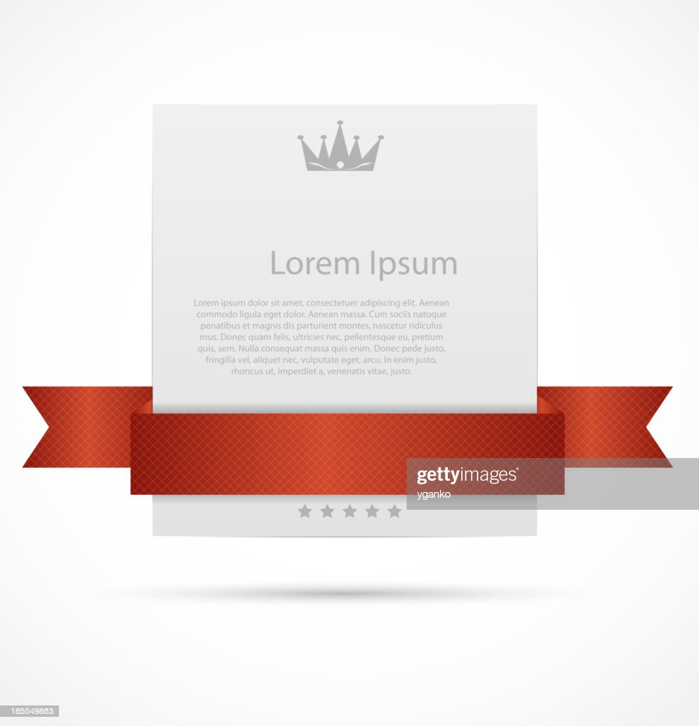 Red ribbon over white card as a sample for posters