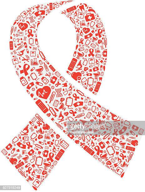 Red ribbon shape with medical icons