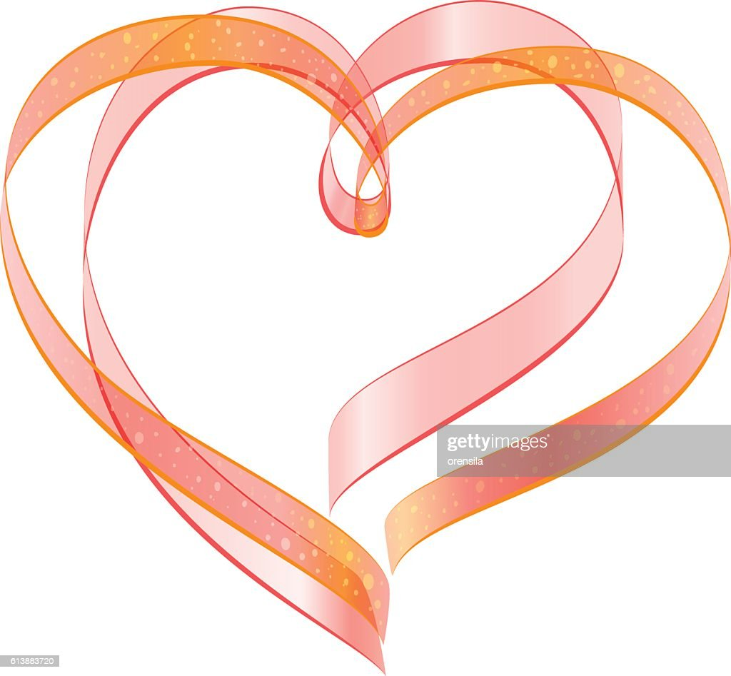Red Ribbon Two Heart Shape Symbol Of Love Vector Art Getty Images