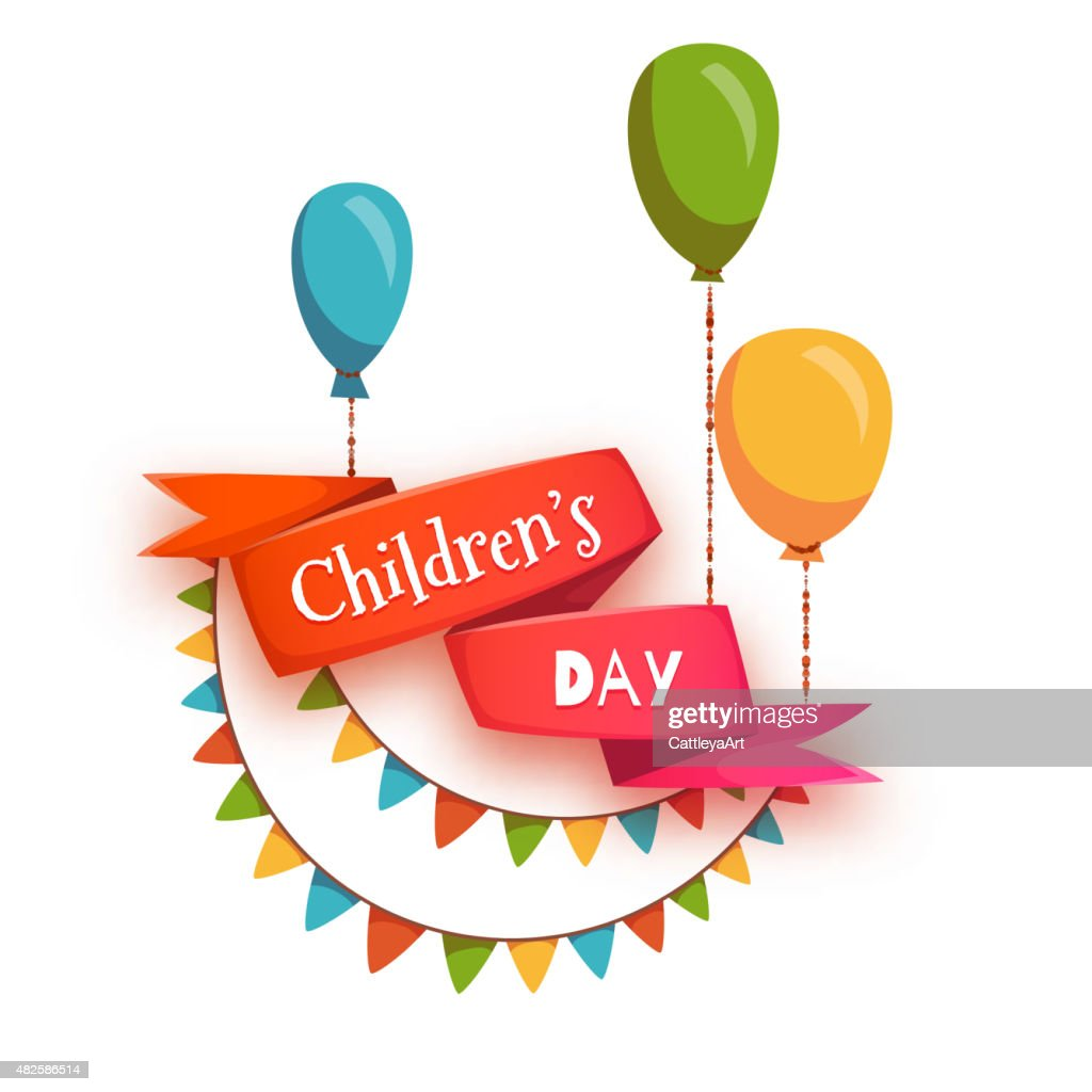 Red ribbon with Children Day title, balloons and flags. Vector
