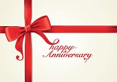 Red ribbons and greeting card, bows, Vector, anniversary