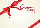 Red ribbons and greeting card, bows, Vector, Congratulation