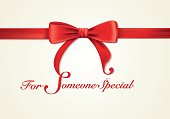 Red ribbons and greeting card, bows, Vector, gift box