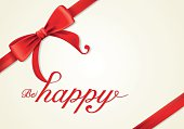 Red ribbons and greeting card, bows, Vector, happiness