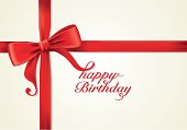 Red ribbons and greeting card, bows, Vector, happy birthday