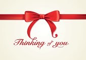 Red ribbons and greeting card, bows, Vector