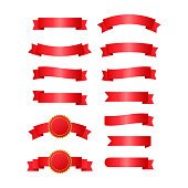 Red ribbons banners. Set of ribbons. Vector illustration.