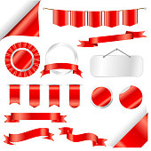 Red Ribbons, flag and labels Set isolated On White Background. Vector Illustration for your design.