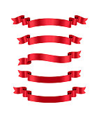 Red ribbons isolated on white background. Vector design elements.