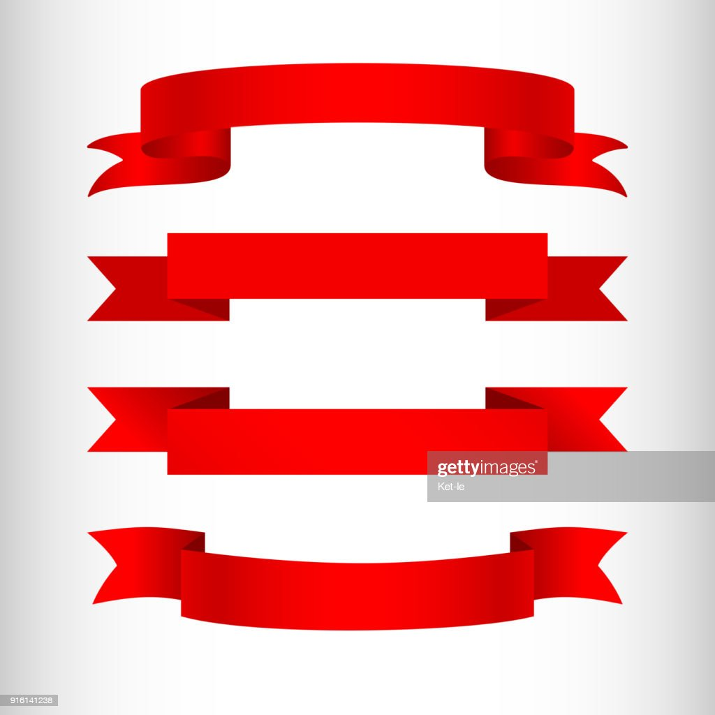 Red ribbons on a light background Isolated Element of design of advertising banners posters A set of ribbons for sales web shops business promotion Empty template Creative ribbon icon Vector