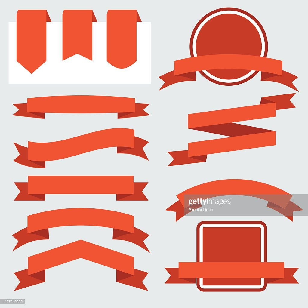 Red Ribbons Set isolated On White Background. Vector Illustration