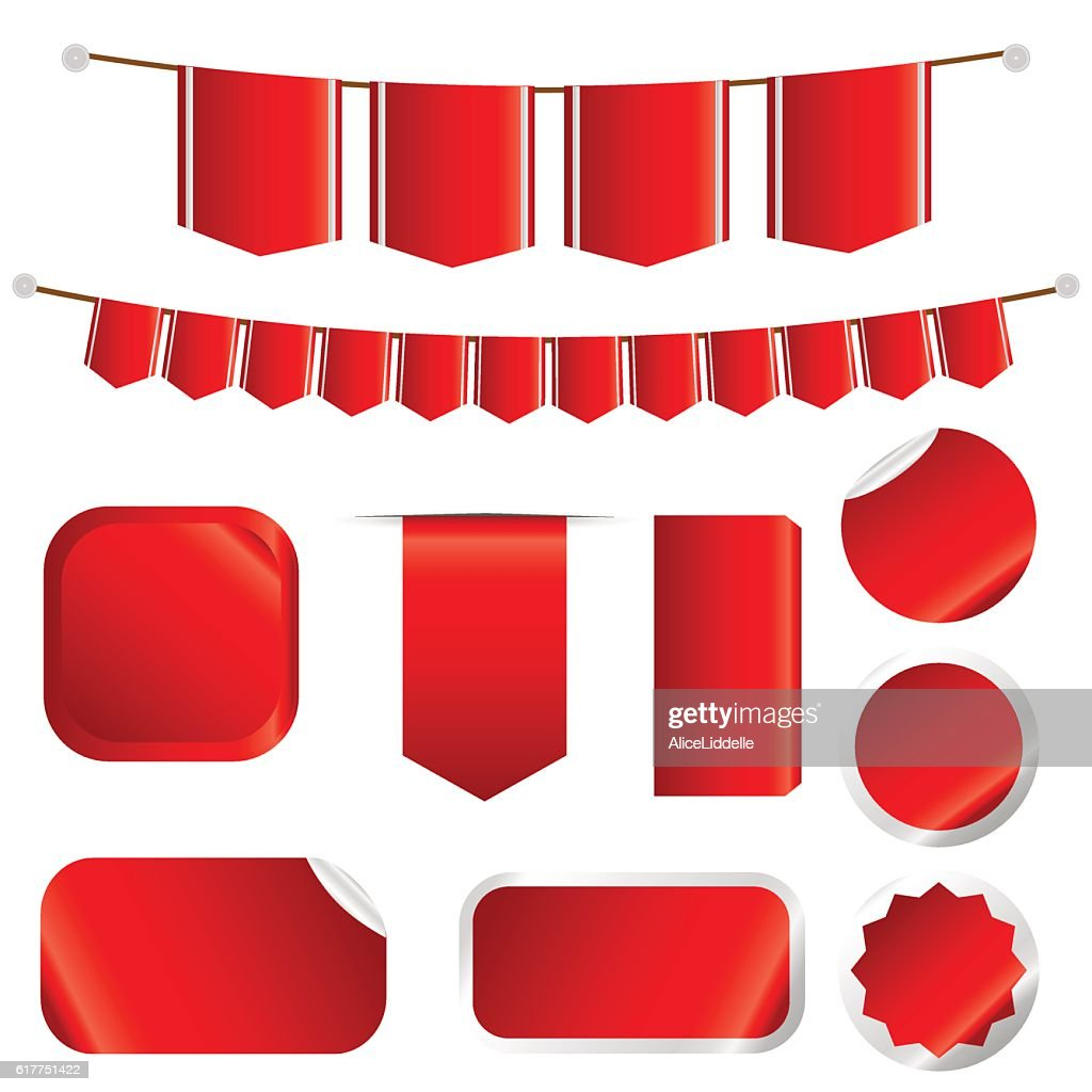 Red Ribbons Set isolated On Wtite Background.