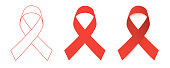 Red Ribbons set. World Aids Day. Flat design