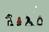 Red Riding Hood, Wolf, Lumberjack, and Grandmother Characters in Stick Figure Pictogram