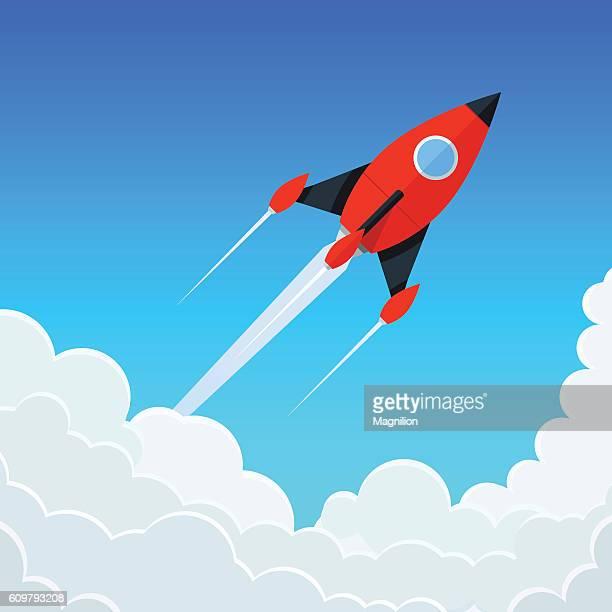 Red rocket flies Start up concept vector