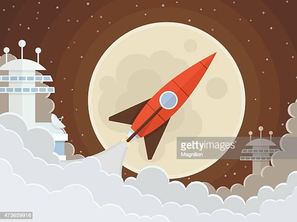 red rocket flies start up - rocket stock illustrations