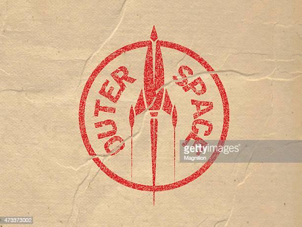 illustrazioni stock, clip art, cartoni animati e icone di tendenza di logo timbro rosso rocket - missile razzo spaziale