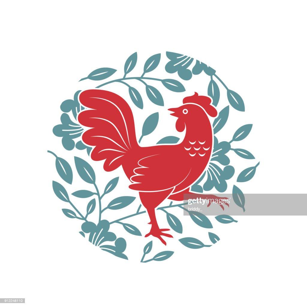Red Rooster in Flower Garden Illustration.
