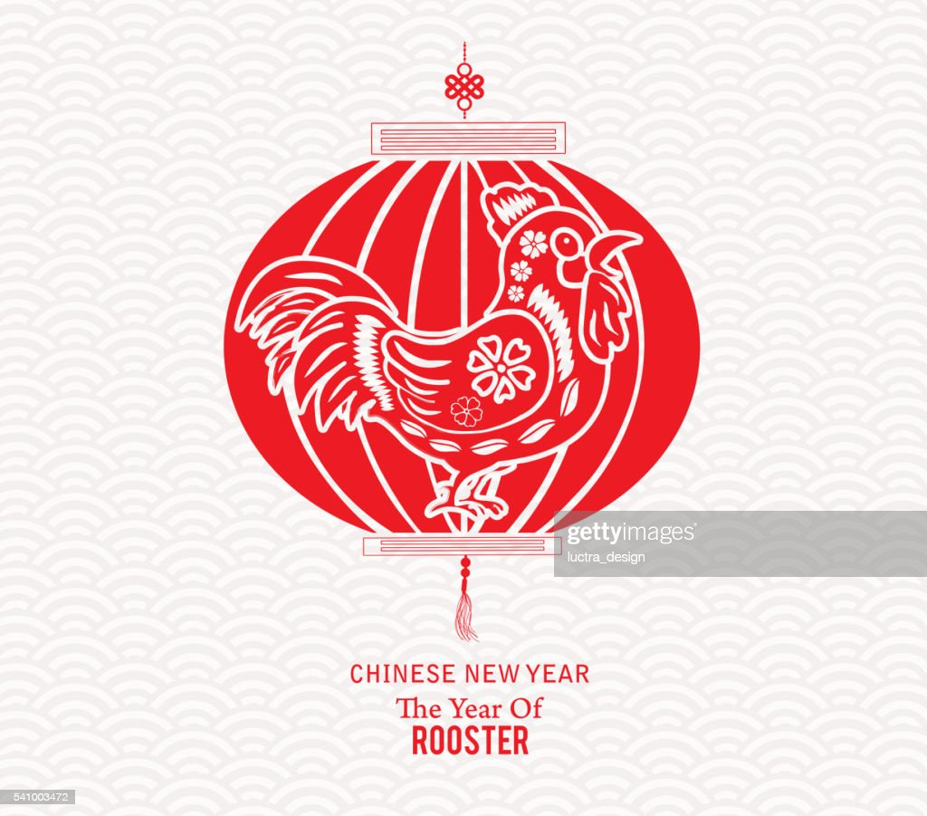 Red rooster lantern garland. Chinese new year