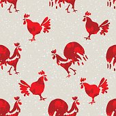 Red Rooster seamless pattern.