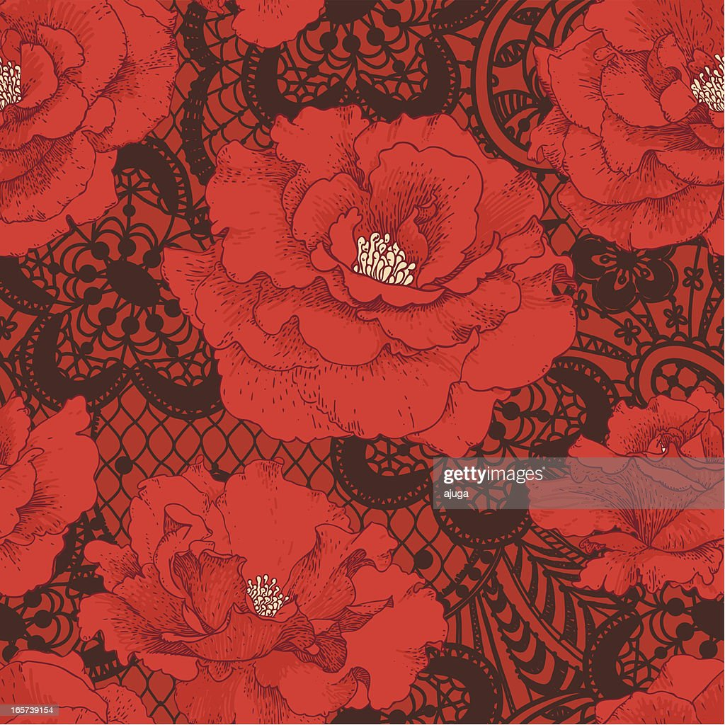 Red Rose. Brown Lace Seamless Pattern.