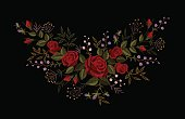 Red rose embroidery on black background. Satin stitch imitation fashion decoration patch necklace. Texture flower small herbs little delicate violet bud vintage ornament vector illustration