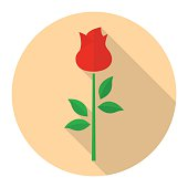 Red rose flower vector flat icon