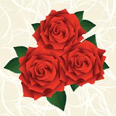 Red roses with green leafs on a bright backgorund