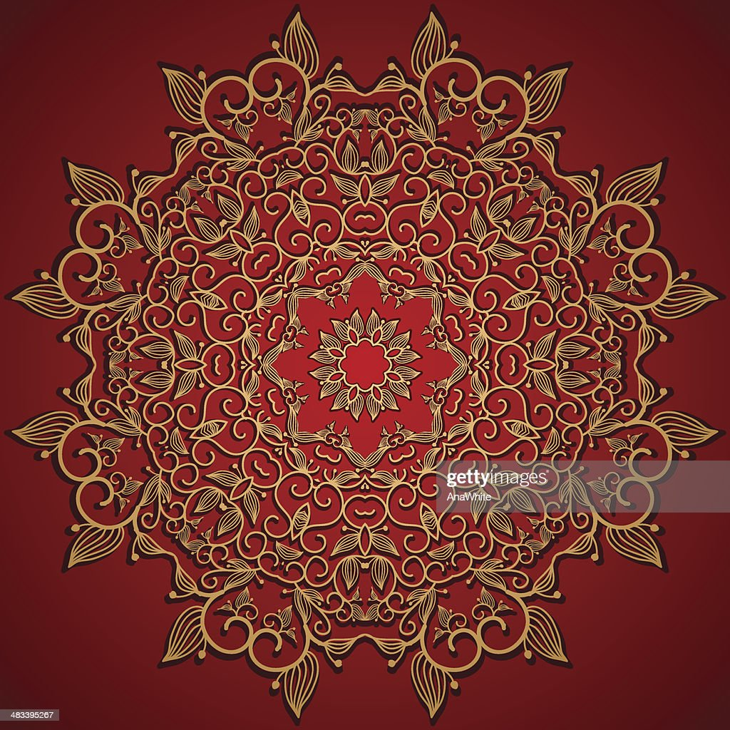 Red round gold lace ornament